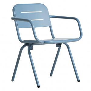 Scaun dining pentru exterior albastru din aluminiu Ray Din Woud