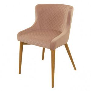 Scaun dining roz din lemn si textil Paris Zago