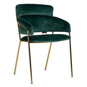 Scaun dining verde/auriu din catifea si inox Angelica Richmond Interiors