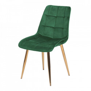 Scaun dining verde/auriu din catifea si metal Chic Signal Meble