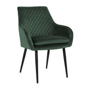 Scaun dining verde/negru din catifea si fier Chrissy Richmond Interiors