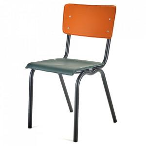 Scaun dining verde/portocaliu din metal si vinilin Ovis Serax