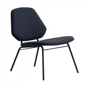 Scaun lounge albastru inchis/negru din textil si metal Lean Woud
