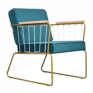 Scaun lounge auriu/albastru din lemn si poliester Saxon Opjet Paris