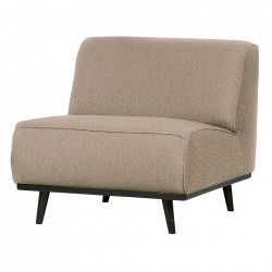 Scaun lounge bej/negru din poliester si lemn Statement Boucle Be Pure Home