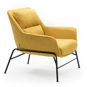 Scaun lounge galben mustar din textil si metal Sadira Teulat
