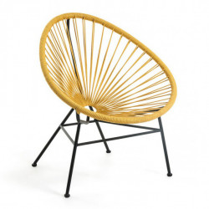 Scaun lounge galben/negru din sfoara si metal Samantha Kave Home