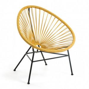 Scaun lounge galben/negru din sfoara si metal Samantha La Forma