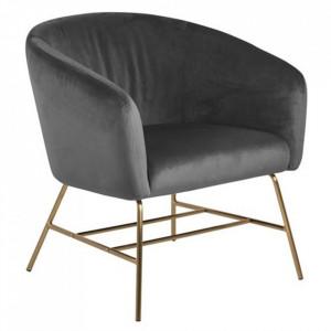 Scaun lounge gri inchis/maro alama din textil si metal Ramsey Grey Brass Actona Company