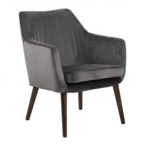 Scaun lounge gri inchis/maro inchis din catifea si lemn Nora Actona Company