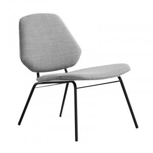 Scaun lounge gri/negru din textil si metal Lean Woud
