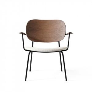 Scaun lounge maro/alb din lemn si textil Co Arms Menu