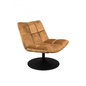 Scaun lounge maro auriu din otel si poliester Bar Velvet Golden Brown Dutchbone