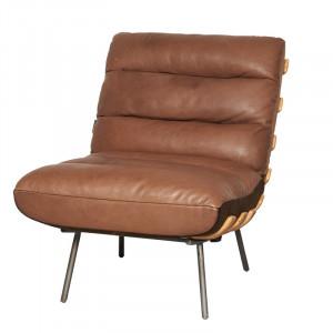 Scaun lounge maro din piele si fier Texas LifeStyle Home Collection