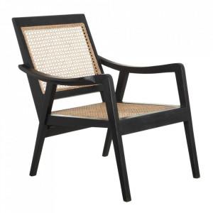 Scaun lounge maro/negru din ratan si lemn de mango Ribina Denzzo