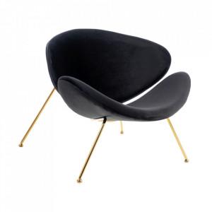 Scaun lounge negru/auriu din catifea si metal Major Signal Meble