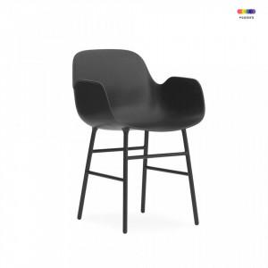 Scaun lounge negru din polipropilena si otel Form Normann Copenhagen