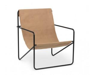Scaun lounge negru/maro din metal si textil Desert Black Solid Ferm Living