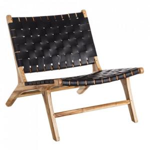 Scaun lounge negru/maro din piele si lemn de tec Yards Denzzo