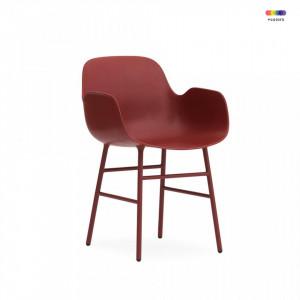 Scaun lounge rosu din polipropilena si otel Form Normann Copenhagen