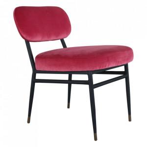Scaun lounge rosu/negru din catifea si metal Rens Anne Steinhauer