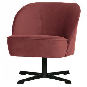 Scaun lounge rotativ maro castana/negru din catifea si otel Vogue Be Pure Home