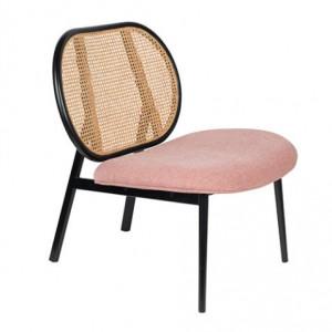 Scaun lounge roz cu spatar din ratan Spike Zuiver
