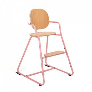 Scaun pentru copii maro/roz din lemn de fag si metal Tibu Charlie Crane