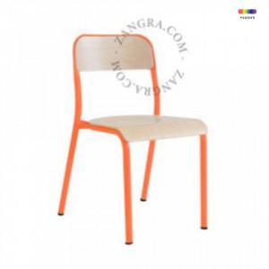 Scaun portocaliu/maro din lemn si metal Lewis Zangra
