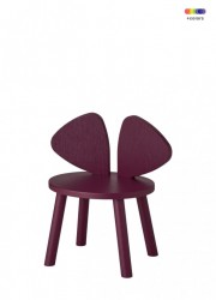 Scaun rosu burgund din lemn de stejar pentru copii Mouse Chair Nofred