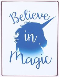 Semn metalic albastru 26x35 cm Believe in Magic