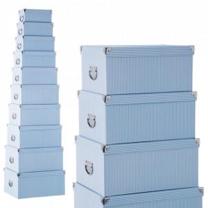 Set 10 cutii cu capac albastru din carton Lines Unimasa