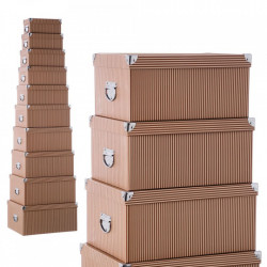 Set 10 cutii cu capac maro din carton Lines Unimasa