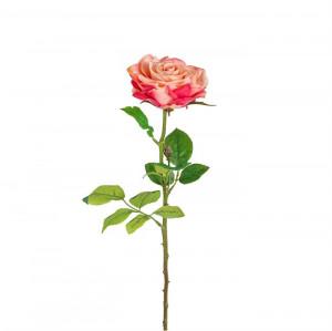 Set 18 flori artificiale rosii/verzi din plastic si metal 66 cm Roses Richmond Interiors