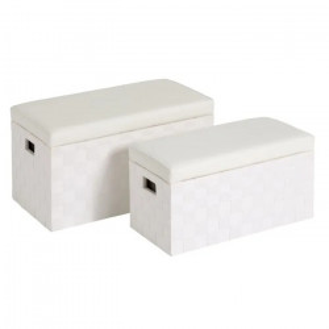 Set 2 banchete albe din fibre naturale si piele Irene Unimasa