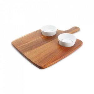 Set 2 boluri si platou pentru servire din lemn si portelan Portion Aerts