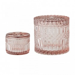 Set 2 borcane transparente roz din sticla Rose Bloomingville