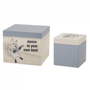 Set 2 cutii cu capac multicolore din lemn Dance Bloomingville