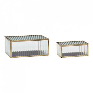Set 2 cutii din alama si sticla pentru bijuterii Murray Hubsch