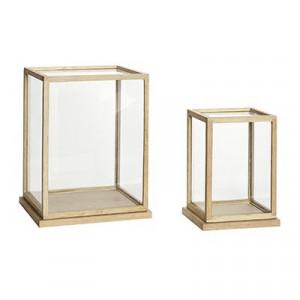 Set 2 cutii transparente/maro din sticla si lemn Giulia Tall Hubsch
