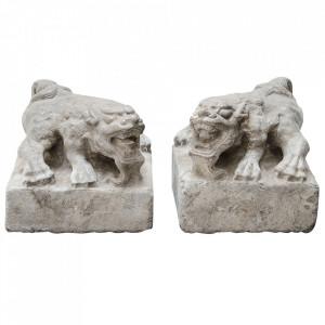 Set 2 decoratiuni gri din marmura 20 cm Lions Versmissen