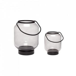 Set 2 felinare gri fum/negre din sticla si metal Smoked Lantern Hubsch