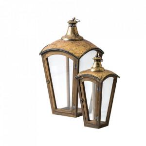 Set 2 felinare transparente/aurii din lemn si sticla Ward Avi Vical Home