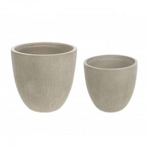 Set 2 ghivece verde salvie din fibra de sticla Low Vase Bizzotto