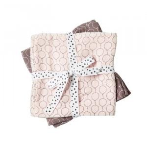 Set 2 paturi roz din bumbac pentru copii 120x120 cm Moira Powder Done by Deer