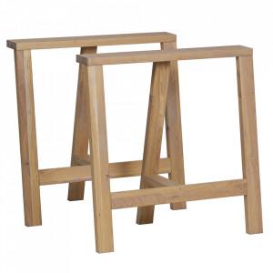 Set 2 picioare pentru masa maro din lemn de stejar Prop Legs Woood