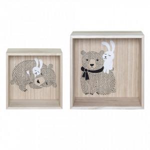 Set 2 rafturi maro din lemn de paulownia Bear Love Bloomingville Mini