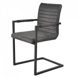 Set 2 scaune dining gri antracit/negre din poliester si otel Kay Sit Moebel