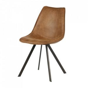 Set 2 scaune dining maro coniac din poliuretan si metal Swen Woood