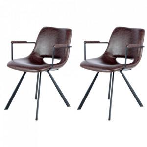 Set 2 scaune dining maro din poliuretan si metal Josephine Arms Kayoom